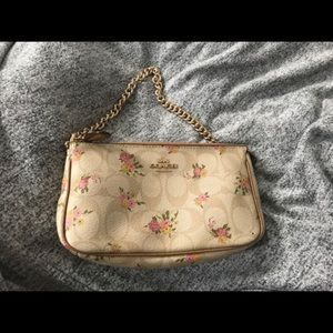 coach purse tan with flowers